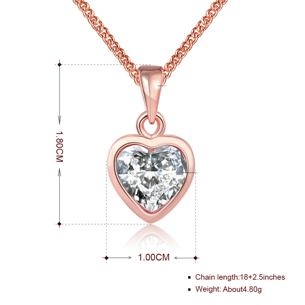 Heart Necklace in 18K Rose Gold Plated