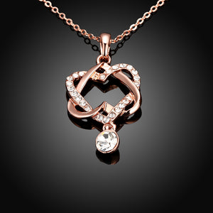 Intertwined Duo Hearts Swarovski Elements Necklace in 14K Gold
