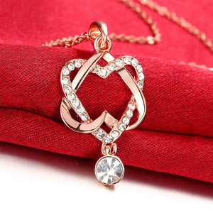 Swarovski Crystal Double Heart Necklace in 18K Rose Gold Plated