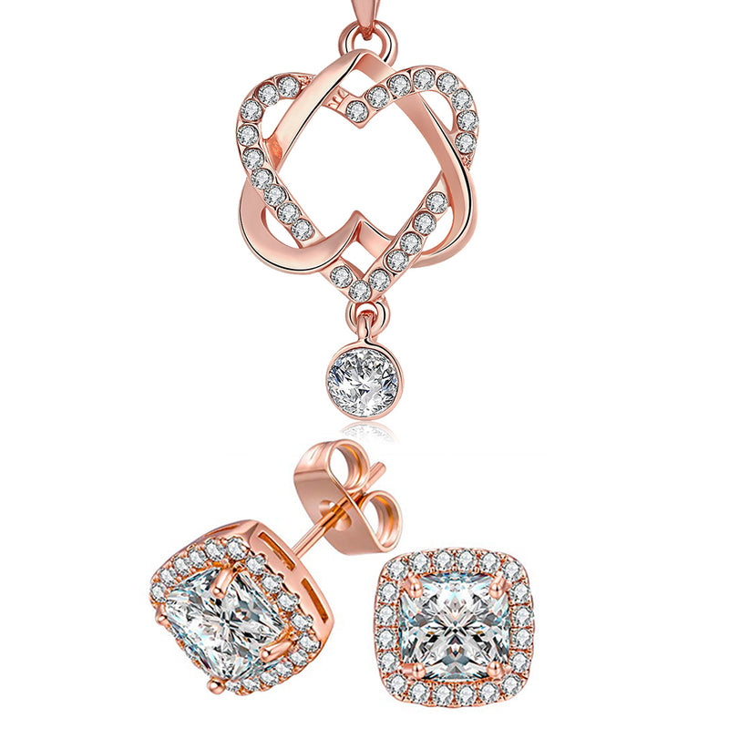 14K Rose Gold Plating White Swarovski Pav'e Interlocking Heart Necklace & Earrings Stud Set