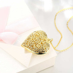Laser Cut Heart Necklace in 18K Gold Plated
