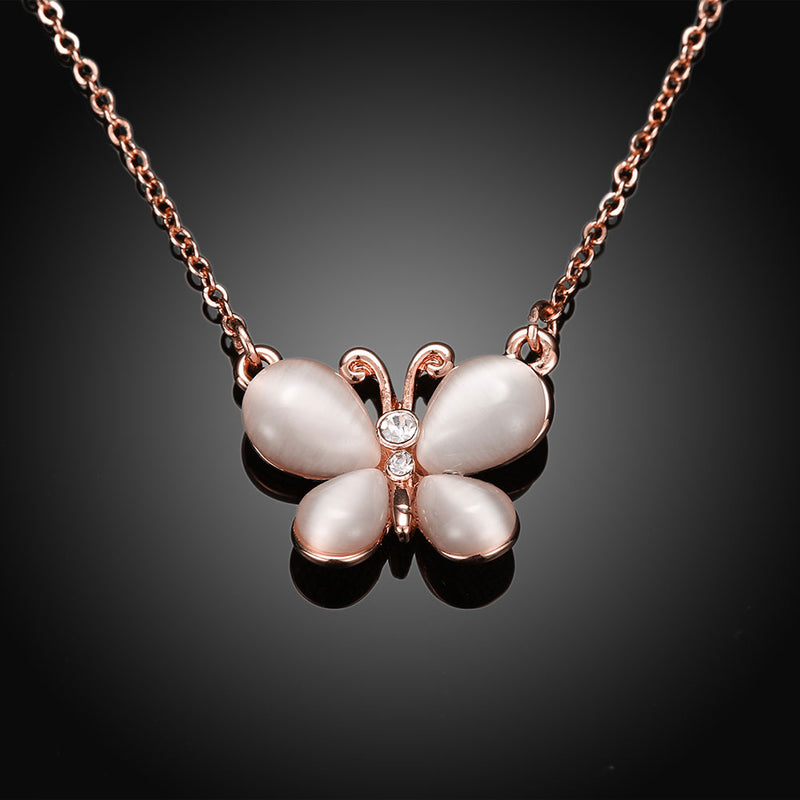 Swarovski Crystal Butterfly Necklace in 18K Rose Gold Plated