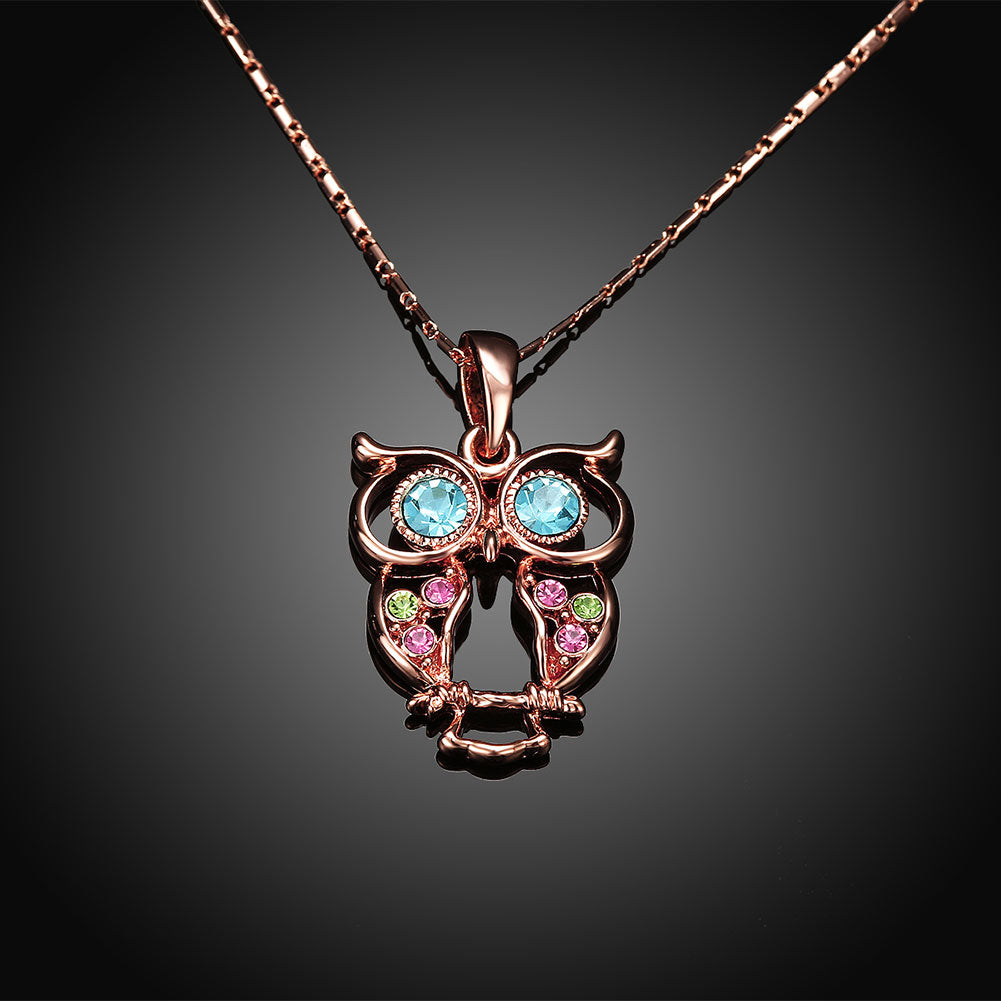 Owl Rainbow Swarovski Elements Necklace in 14K Rose Gold