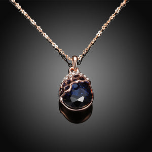 Austrian Crystal Sapphire Necklace in 18K Rose Gold Plated
