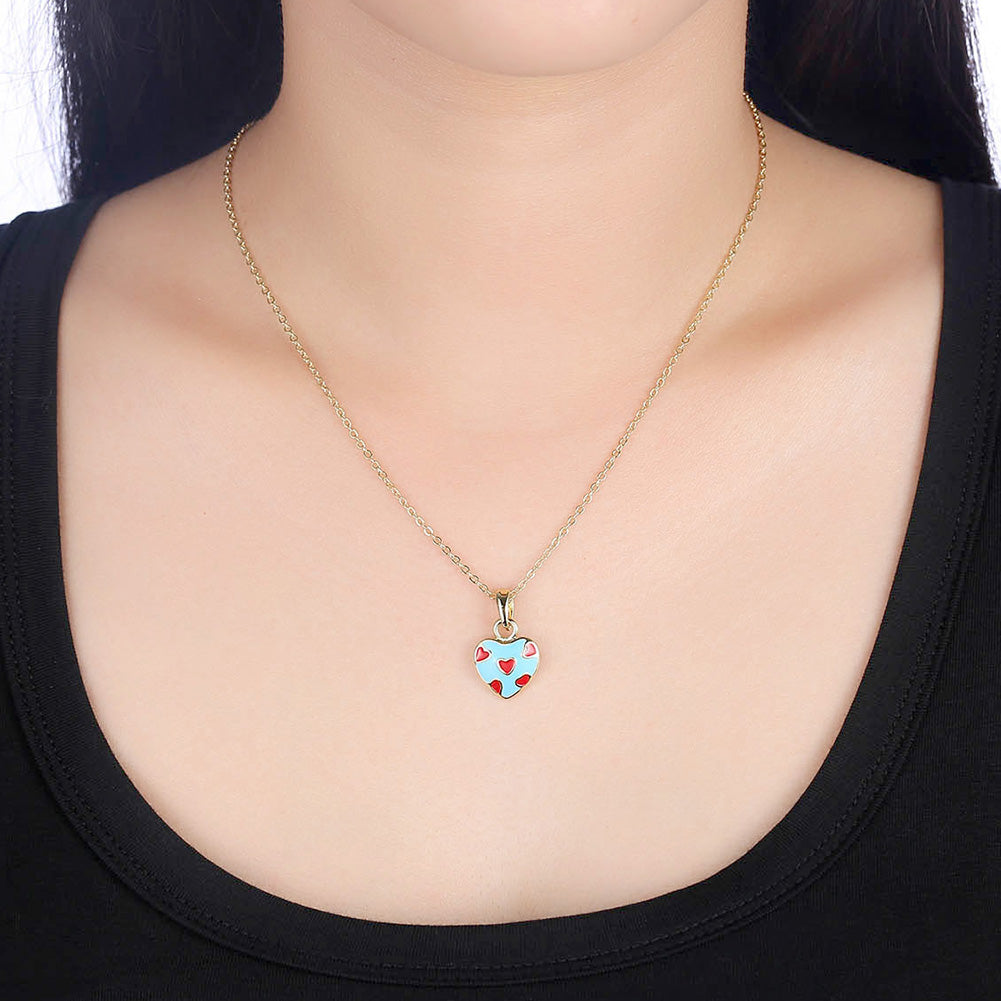 Light Blue Pattern Heart Necklace in 18K Gold Plated