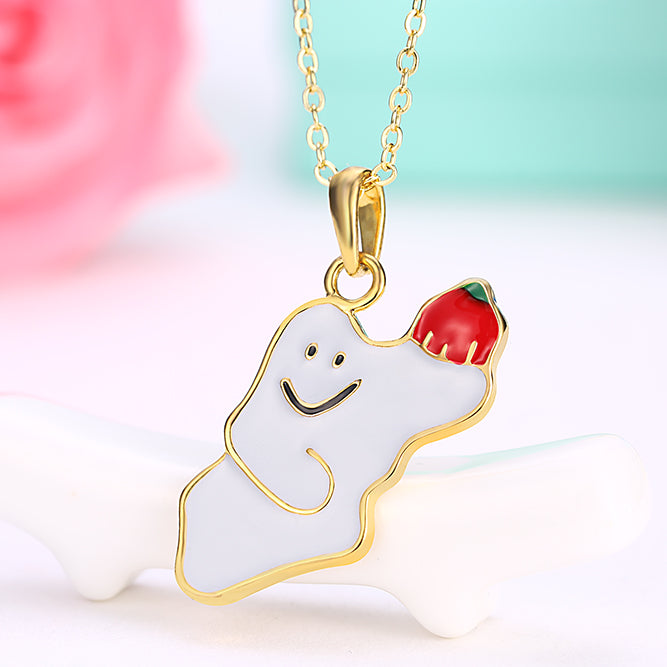 Halloween Ghost Necklace in 18K Gold Plated