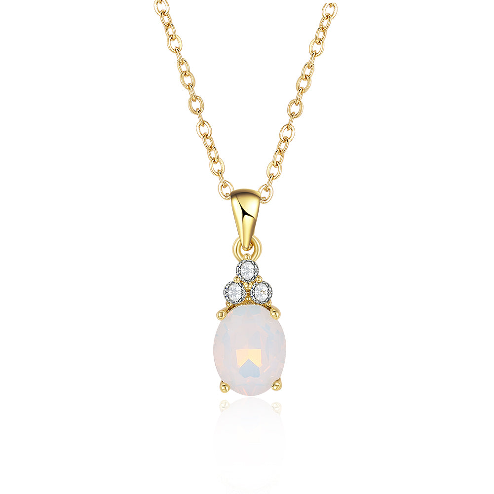 Opal Three Stone Classic Gold Necklace, , Golden NYC Jewelry, Golden NYC Jewelry fashion jewelry, cheap jewelry, jewelry for mom,