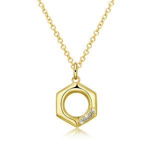 "Hexagon 18""-24"" Adjustable Necklace in 18K Gold Plated"