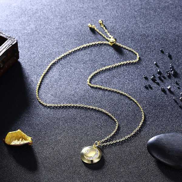 Swarovski Cresent Moon & Star Necklace in 18K Gold Plated - Golden NYC Jewelry www.goldennycjewelry.com fashion jewelry for women
