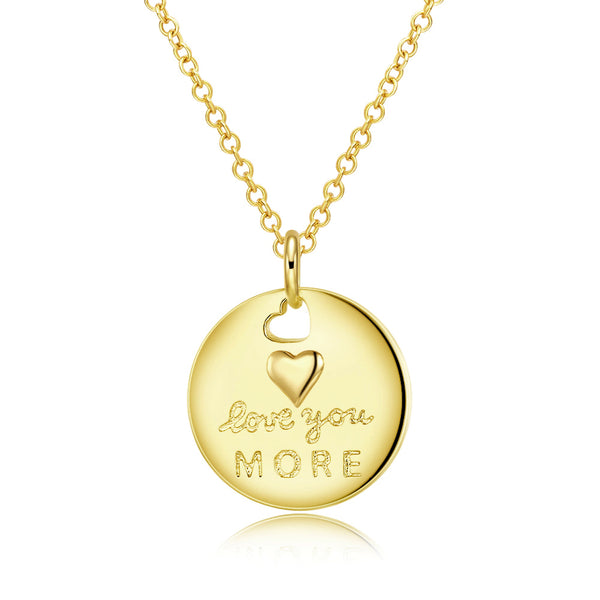 Love you More Coin Necklace in 18K Gold Plated, Gold Collection, Necklace, Gold, Golden NYC Jewelry, Golden NYC Jewelry fashion jewelry, cheap jewelry, jewelry for mom,