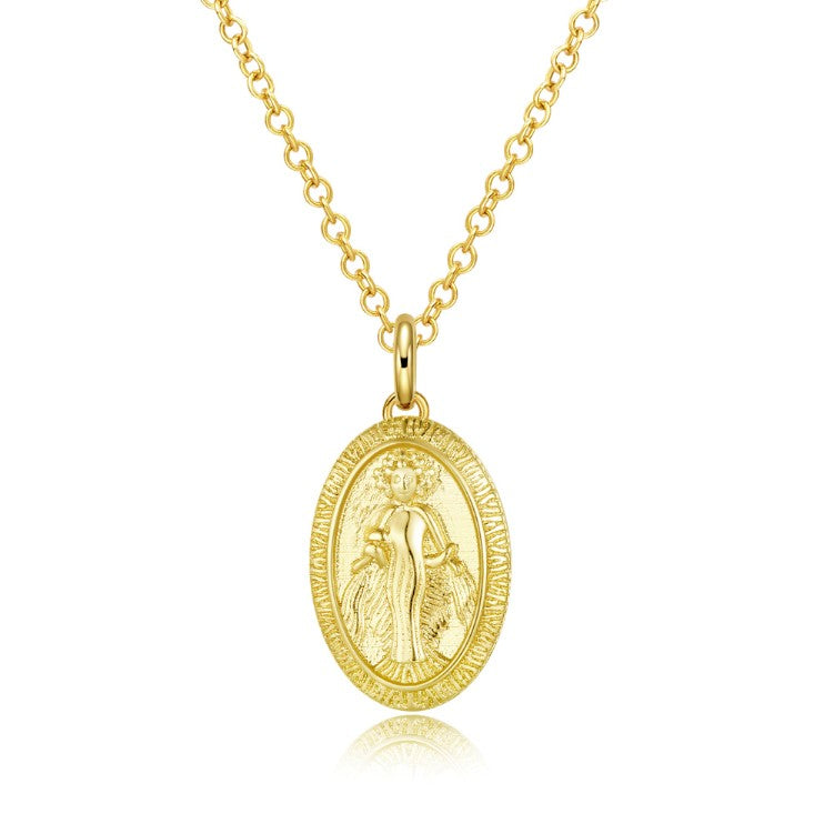 Lady Goddess Coin Necklace in 18K Gold Plated, Gold Collection, Necklace, Gold, Golden NYC Jewelry, Golden NYC Jewelry fashion jewelry, cheap jewelry, jewelry for mom,