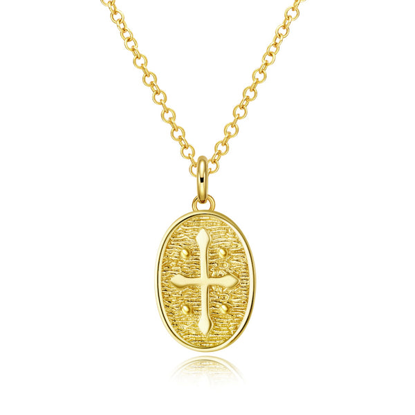 18K Coin Cross Necklace in 18K Gold Plated, Gold Collection, Necklace, Gold, Golden NYC Jewelry, Golden NYC Jewelry fashion jewelry, cheap jewelry, jewelry for mom,
