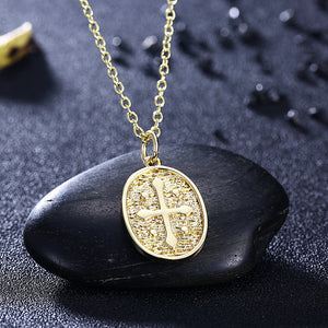 18K Coin Cross Necklace in 18K Gold Plated, Gold Collection, Necklace, Gold, Golden NYC Jewelry, Golden NYC Jewelry  jewelryjewelry deals, swarovski crystal jewelry, groupon jewelry,, jewelry for mom,