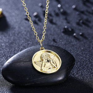 "Circle Thinking Angel 18""-24"" Adjustable Necklace in 18K Gold Plated, Necklace, Golden NYC Jewelry, Golden NYC Jewelry  jewelryjewelry deals, swarovski crystal jewelry, groupon jewelry,, jewelry for mom,"