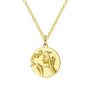 "Mother Mary 18""-24"" Adjustable Necklace in 18K Gold Plated"