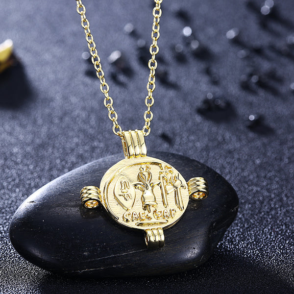 Caeser Coin Cross Necklace in 18K Gold Plated, Gold Collection, Necklace, Gold, Golden NYC Jewelry, Golden NYC Jewelry fashion jewelry, cheap jewelry, jewelry for mom,
