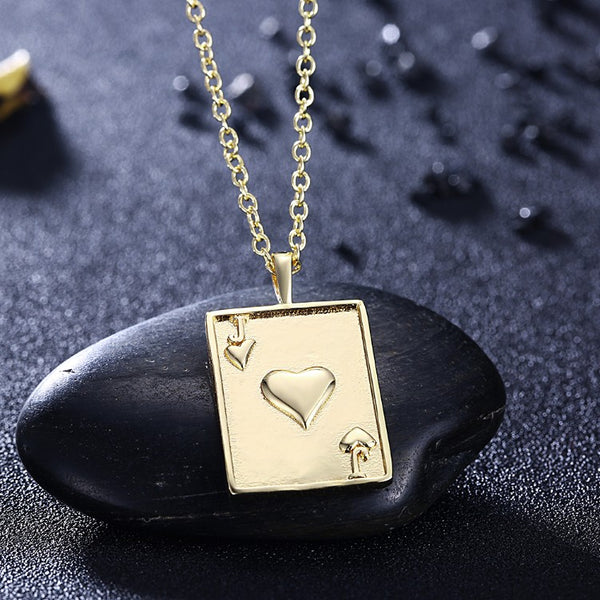 Cards Of Hearts Necklace in 18K Gold Plated - Golden NYC Jewelry www.goldennycjewelry.com fashion jewelry for women