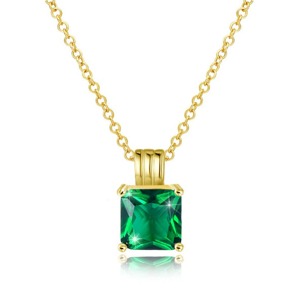 Swarovski Crystal Emerald Sqaure Necklace in 18K Gold Plated - Golden NYC Jewelry www.goldennycjewelry.com fashion jewelry for women