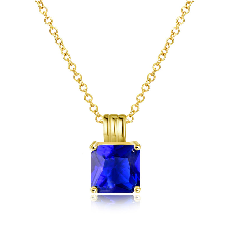 Sapphire Princess Cut Classic Necklace in 14K Gold Gemstone