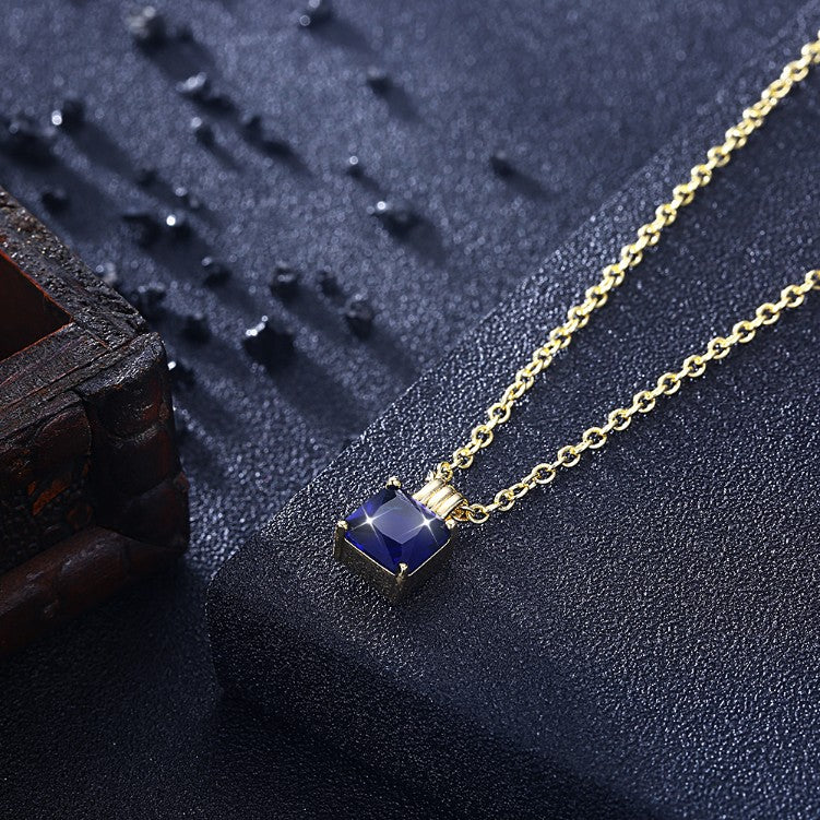 Swarovski Crystal Sapphire Sqaure Necklace in 18K Gold Plated - Golden NYC Jewelry www.goldennycjewelry.com fashion jewelry for women
