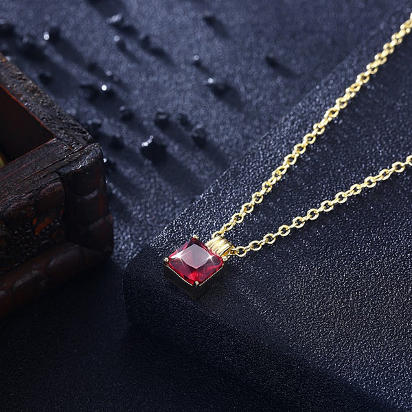 Swarovski Crystal Ruby Sqaure Necklace in 18K Gold Plated - Golden NYC Jewelry www.goldennycjewelry.com fashion jewelry for women