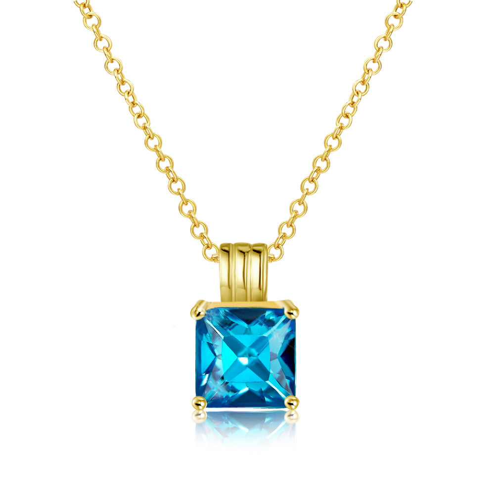 Aquamarine Princess Cut Classic Necklace in 14K Gold Gemstone, Necklaces, Golden NYC Jewelry, Golden NYC Jewelry  jewelryjewelry deals, swarovski crystal jewelry, groupon jewelry,, jewelry for mom,