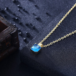 Swarovski Crystal Aquamarine Sqaure Necklace in 18K Gold Plated - Golden NYC Jewelry www.goldennycjewelry.com fashion jewelry for women