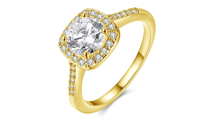 18K Gold-Plated Halo Ring Made with Swarovski Elements with Free Swarovski Elements Studs, , Golden NYC Jewelry, Golden NYC Jewelry  jewelryjewelry deals, swarovski crystal jewelry, groupon jewelry,, jewelry for mom,