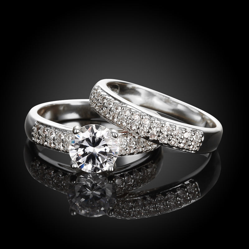 Austrian Elements Duo 14K White Gold Ring