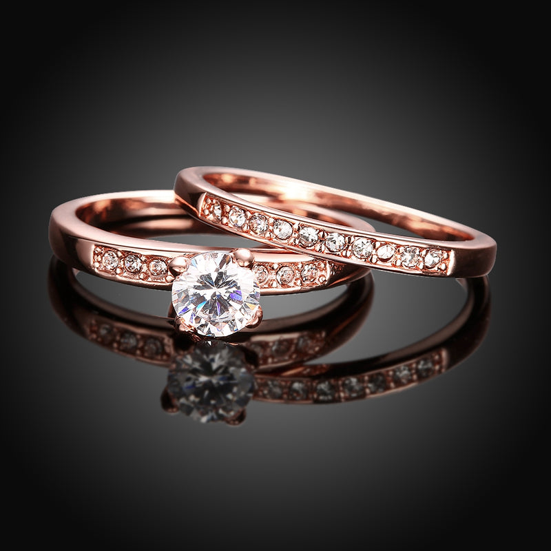 Austrian Elements Duo Classical 18K Rose Gold Ring