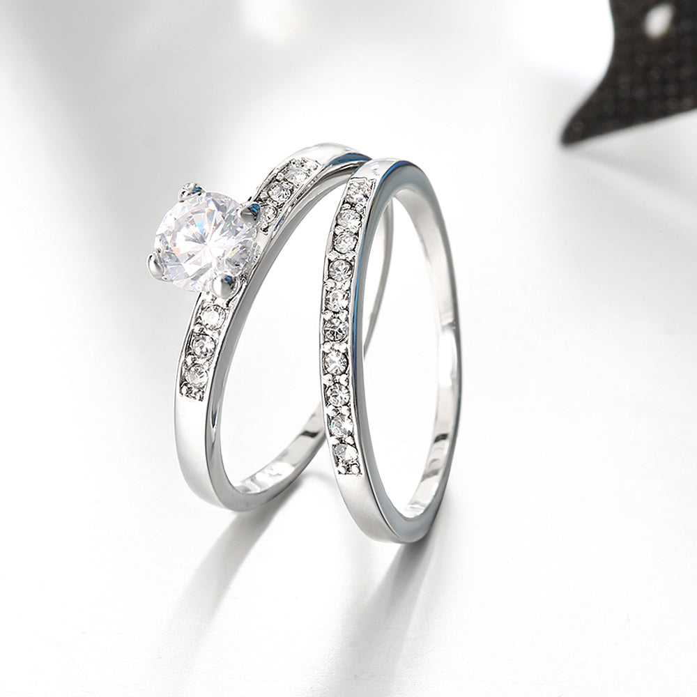 Austrian Elements Duo Classical 14K White Gold Ring