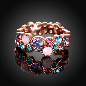 Rainbow Swarovski Multi-Circular Ring in 18K Rose Gold