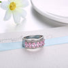 Pink Topaz Six Stone Oval Cut White Gold Ring