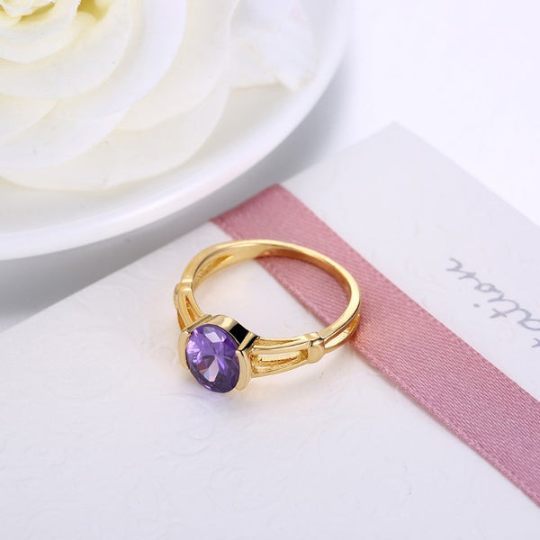 Tanzanite Classic Halo Cut Gold Ring - Golden NYC Jewelry www.goldennycjewelry.com fashion jewelry for women