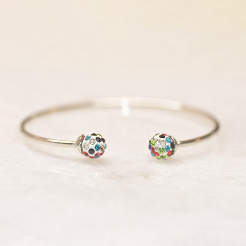 18K White Gold Rainbow Ball Open Bangle, , Golden NYC Jewelry, Golden NYC Jewelry  jewelryjewelry deals, swarovski crystal jewelry, groupon jewelry,, jewelry for mom,