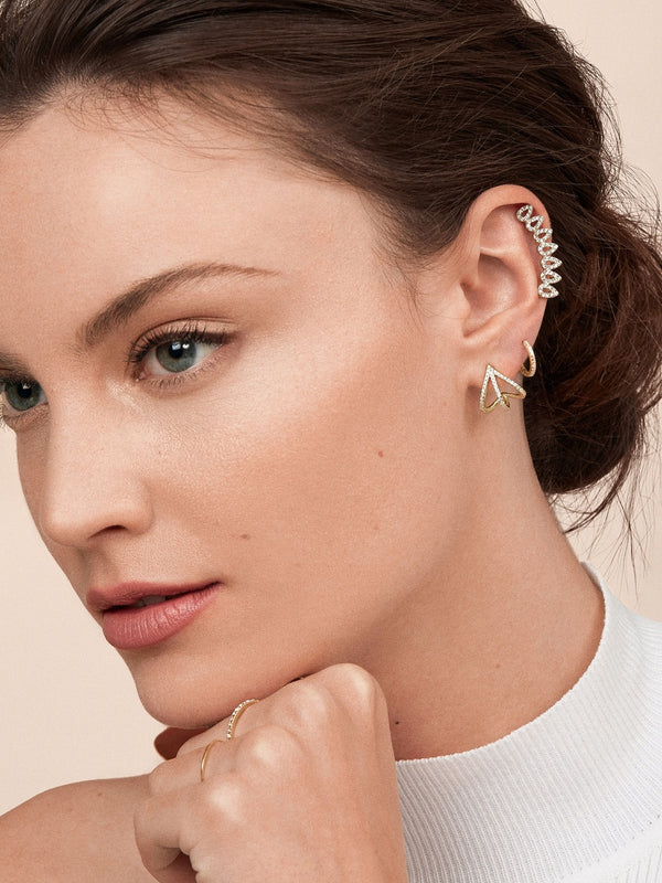 14K Gold Plated Swarovski Elements Curved Crawler Earrings
