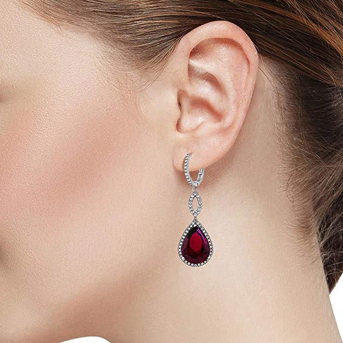 Ruby Pave Teardrop Infinity Drop Embellished with Swarovski Crystals in 18K White Gold Plated