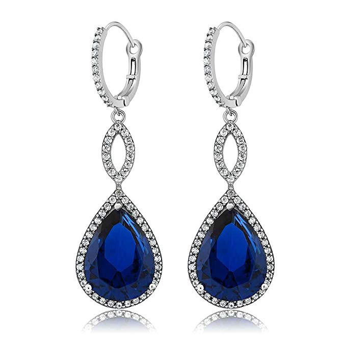 Sapphire Pave Teardrop Infinity Drop Embellished with Austrian Crystals in 18K White Gold Plated