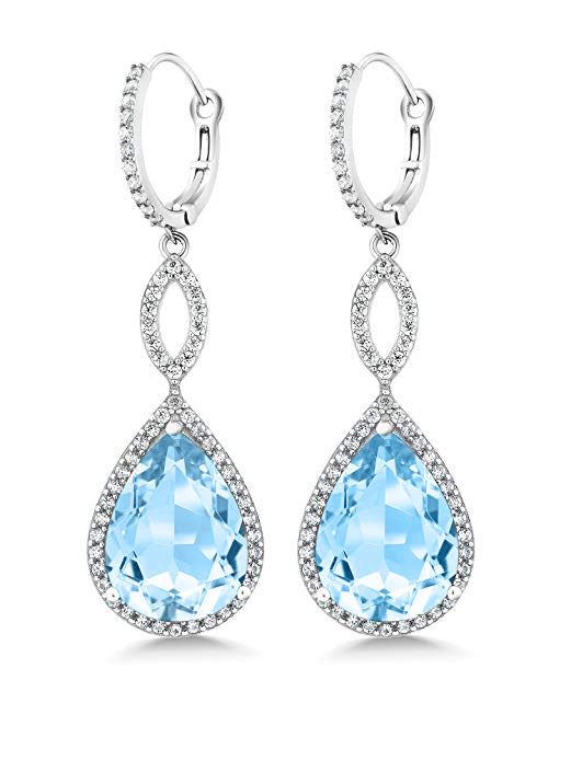 c1e509734 3.55 CTTW Pear Cut Gemstone Infinity Drop Earrings Made with Swarovski  Elements