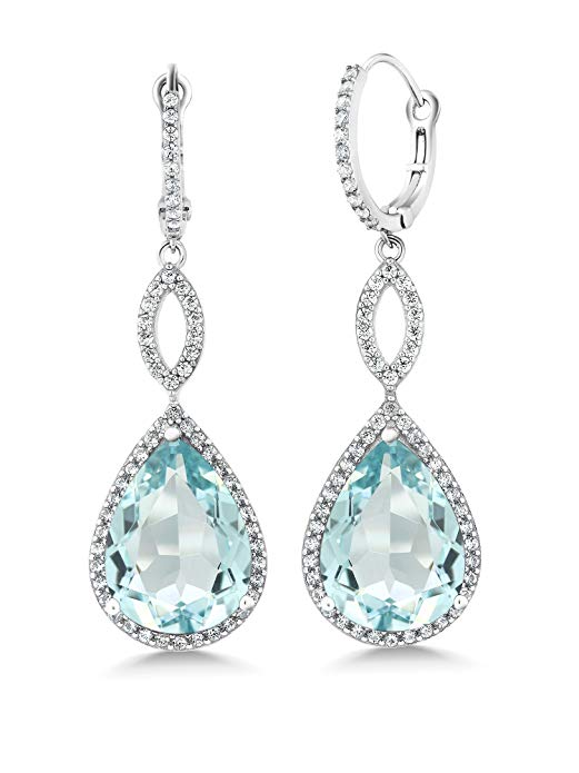 Blue Topaz Pave Teardrop Infinity Drop Embellished with Swarovski Crystals in 18K White Gold Plated, Earring, Golden NYC Jewelry, Golden NYC Jewelry  jewelryjewelry deals, swarovski crystal jewelry, groupon jewelry,, jewelry for mom,