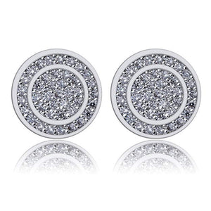 Pave Disc Stud Earring Embellished with Austrian Crystals in 18K White Gold Plated