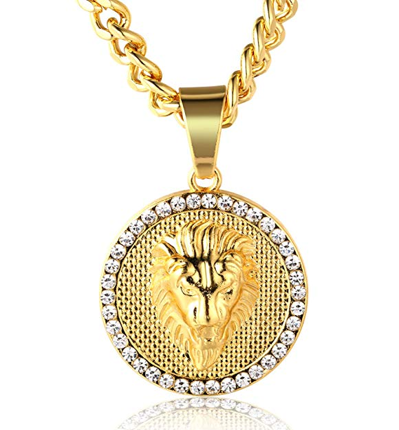 Pave King of the Jungle Lion Pendant Medallion Necklace in 18K Gold Plated