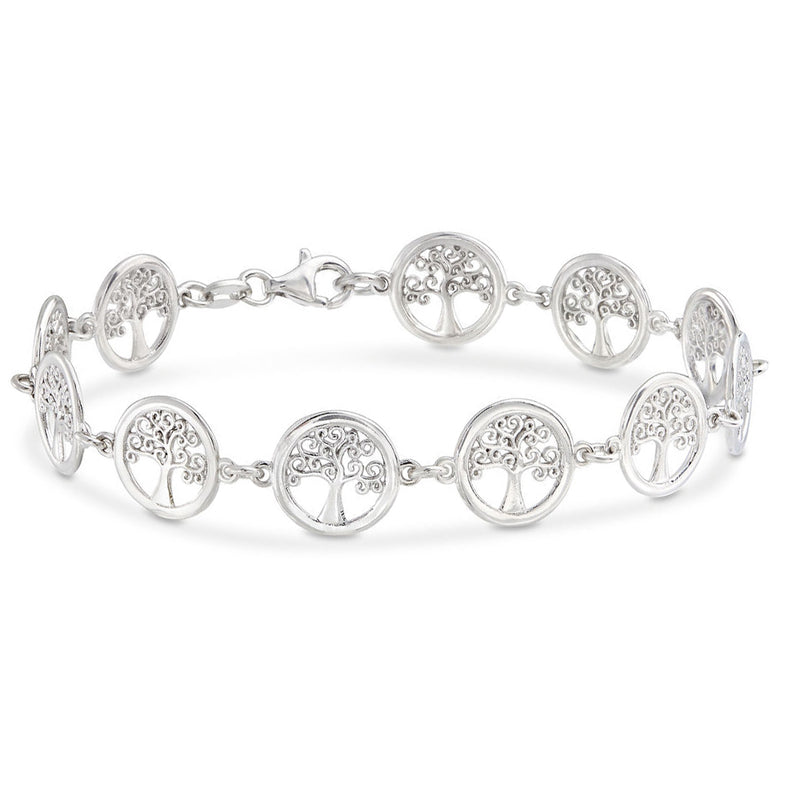 18K White Gold Plated Tree of Life Circular Design Classic Bracelet, , Golden NYC Jewelry, Golden NYC Jewelry  jewelryjewelry deals, swarovski crystal jewelry, groupon jewelry,, jewelry for mom,