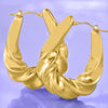 Twist French Lock Hoop Earringin 18K Gold Plated