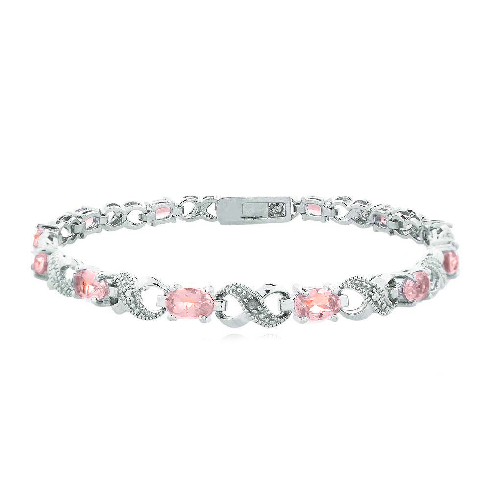 Simulated Gemstone Oval Cut Multi-Stoned Infinity Design Silver Plated Bracelet - Multiple Options