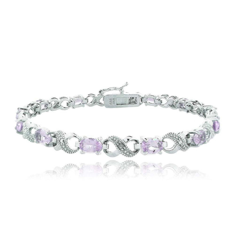 10.00 CT Genuine Amethyst Infinity Bracelet Embellished with Swarovski Crystals in 18K White Gold Plated, Bracelet, Golden NYC Jewelry, Golden NYC Jewelry  jewelryjewelry deals, swarovski crystal jewelry, groupon jewelry,, jewelry for mom,