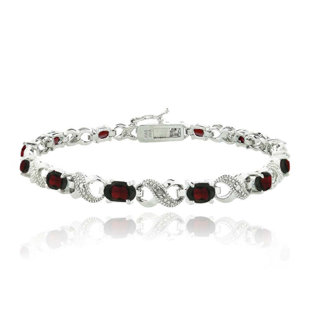 10.00 CT Genuine Ruby Infinity Bracelet Embellished with Swarovski Crystals in 18K White Gold Plated, Bracelet, Golden NYC Jewelry, Golden NYC Jewelry  jewelryjewelry deals, swarovski crystal jewelry, groupon jewelry,, jewelry for mom,