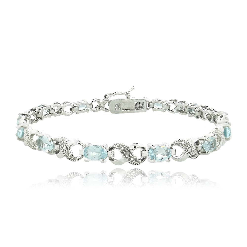 10.00 CT Genuine Blue Topaz Infinity Bracelet Embellished with Swarovski Crystals in 18K White Gold Plated, Bracelet, Golden NYC Jewelry, Golden NYC Jewelry  jewelryjewelry deals, swarovski crystal jewelry, groupon jewelry,, jewelry for mom,