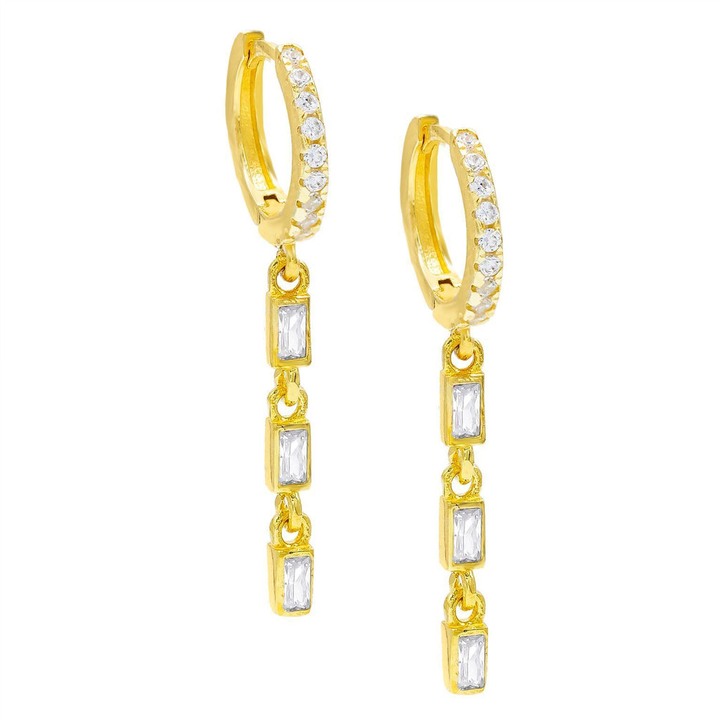 Dainty Dangle White Topaz Baugette Drop Earring Embellished with Swarovski Crystals in 18K Gold Plated, Earring, Golden NYC Jewelry, Golden NYC Jewelry  jewelryjewelry deals, swarovski crystal jewelry, groupon jewelry,, jewelry for mom,