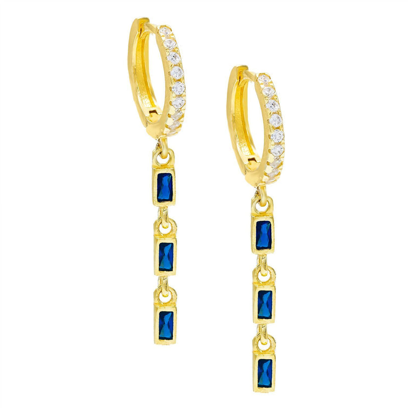 Simulated Gemstone Dangling Pav'e Clip On Earrings in 14K Gold - Four Options
